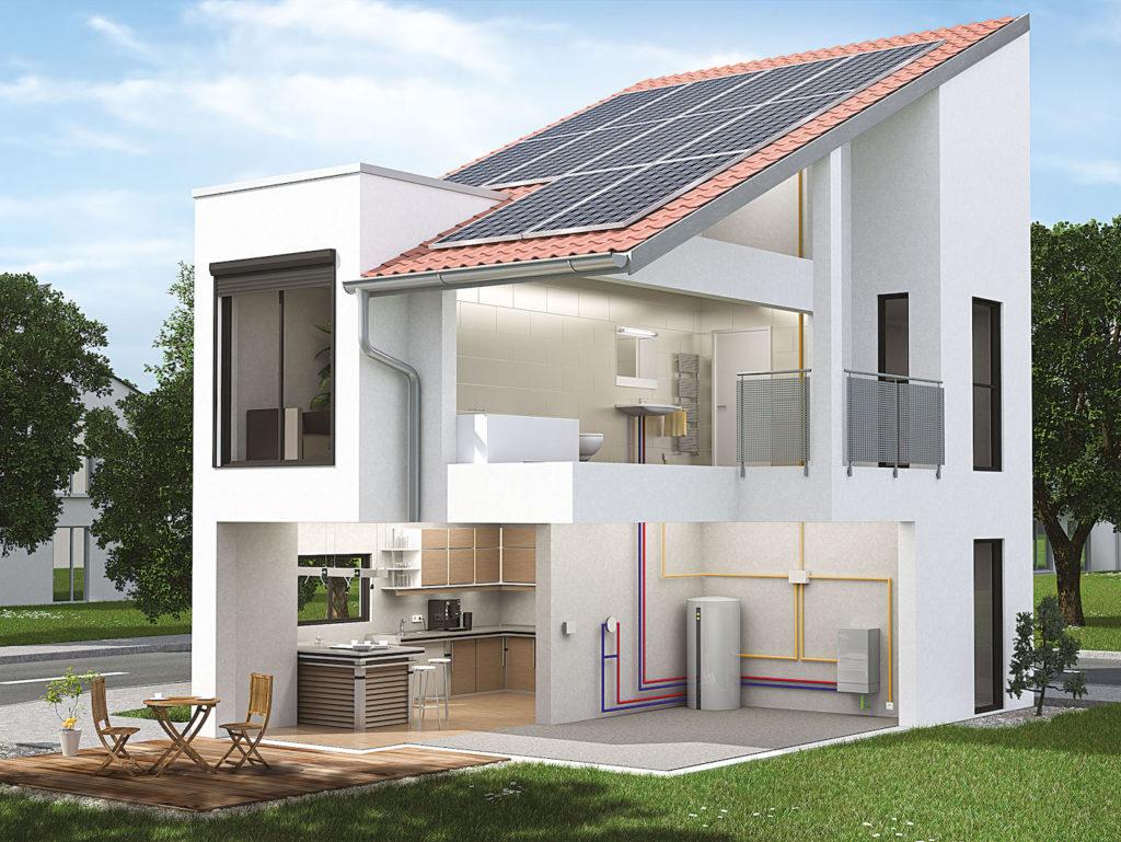 Haus mit Brennstoffzellenheizung und PV