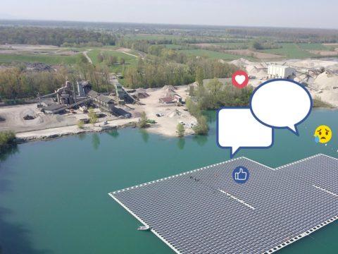 Schwimmende Photovotaikanlage auf einem Baggersee in Baden-Württemberg