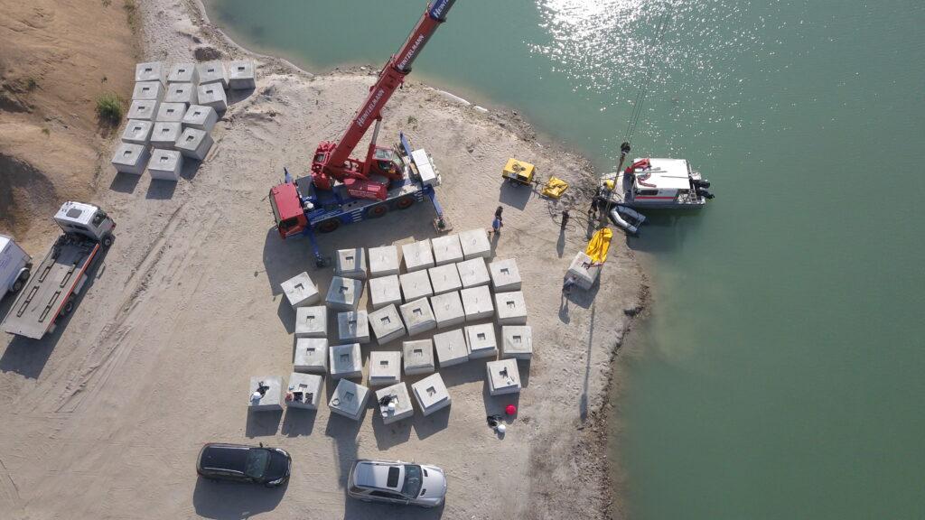 Verankerungselemente Schwimmende PV-Anlage Leimersheim