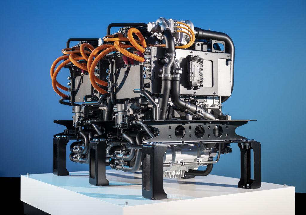 Brennstoffzelle eines Wasserstoff-Lkw von Mercedes-Benz