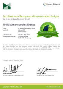 CO2 Zertifikatsurkunde St. Hippolyt Mühle Ebert