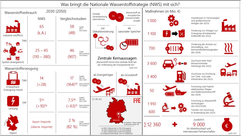 Infografik mit allen Maßnahmen der Nationalen Wasserstoffstrategie NWS 2020